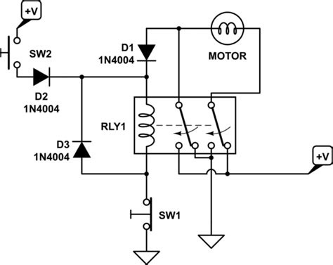 switches change direction of 12v dc motor rotation using