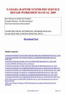 Yamaha Raptor Yfm700 Service Repair Workshop Manual 2009