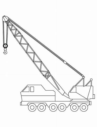Crane Coloring Construction Truck Pages Drawing Vehicles