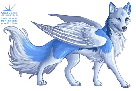 Black And Blue Wolf With Wings