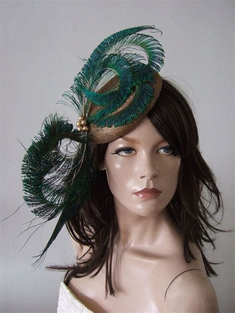 gold green peacock fascinator cocktail hat headpiece