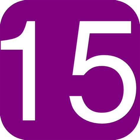 Purple, Rounded, Square With Number 15 Clip Art at Clker