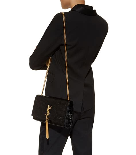 saint laurent black medium croc kate monogram tassel shoulder bag harrods gb