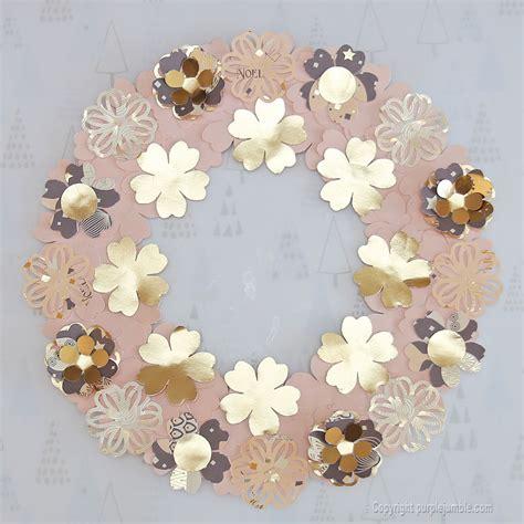 en attendant noël purple jumble couronne de fleurs en papier aux touches dorées diy