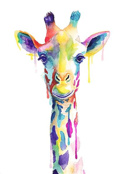 Colorful Giraffe Watercolor Print Wild Animals Wall