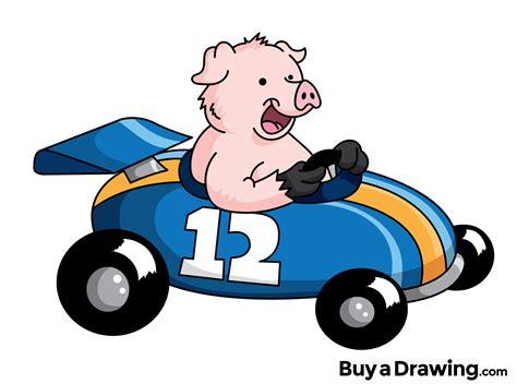 Racing Car Cartoon Pig Drawing