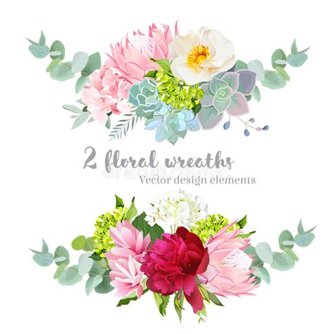 witte protea bloemen floral mix wreath vector design set green white and pink