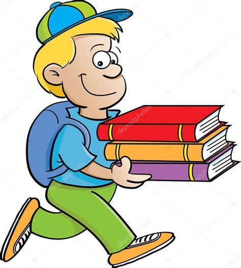cartoon illustration   boy carrying books   white