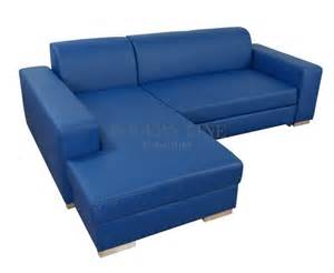 Blue Leather Sectional Modern Sofa Sleeper with Storage