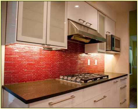 Red Glass Mosaic Tile Backsplash  Home Design Ideas