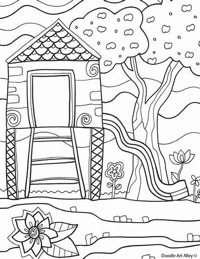Coloring Pages Summer Printable Sheets Summertime Playground