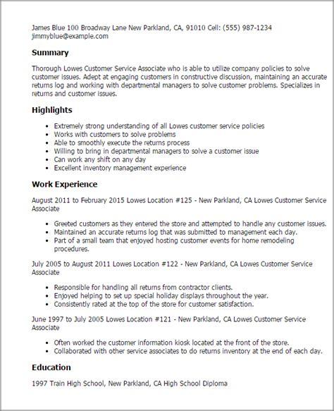 1 lowe s customer service associate resume templates try