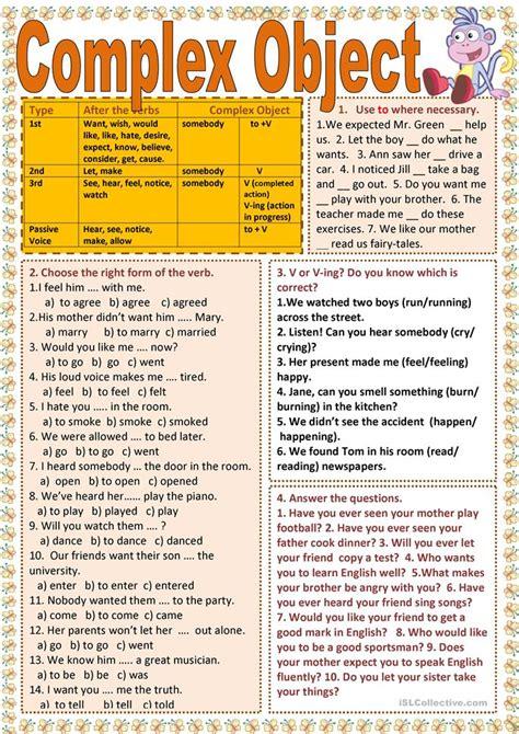 complex object worksheet  esl printable worksheets