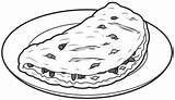 Coloring Omelet Omelette Clipart Breakfast Template Hips sketch template