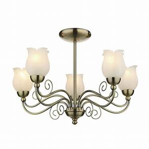 Cottage style light ceiling antique brass marble