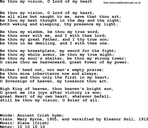 thou in modern hymns ancient and modern song be thou my vision o lord of my lyrics midi and pdf
