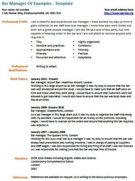 bar manager cv exle learnist org