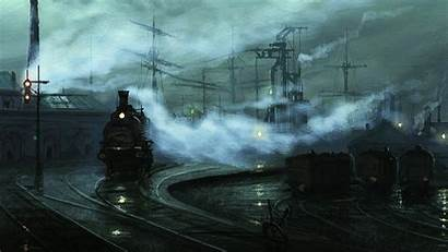 Classic Train Painting Wallpapers Desktop Railway Mist