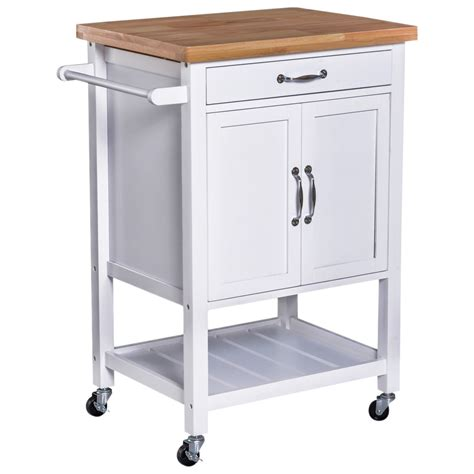 Kitchen Cupboard On Wheels by Homcom Kitchen Storage Trolley Cart Rolling Wheels Shelves