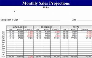 monthly sales projection template forecasts template With sales projection template free download