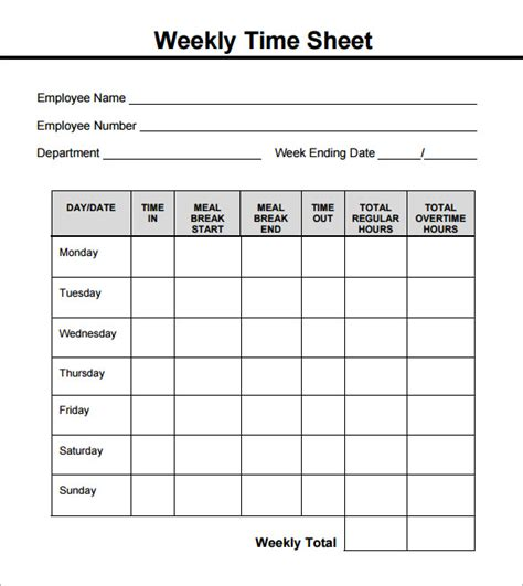 weekly employee time sheet weekly timesheet template 8 free download in pdf