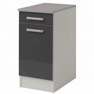 Meuble Bas A Tiroir : meuble bas 1 tiroir 1 porte 40 cm shiny gris ~ Edinachiropracticcenter.com Idées de Décoration