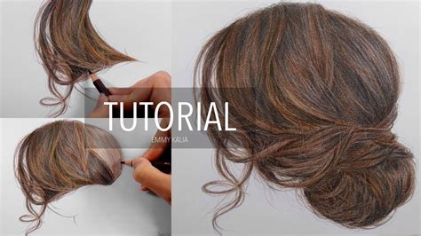 draw  realistic brown hair updo step  step