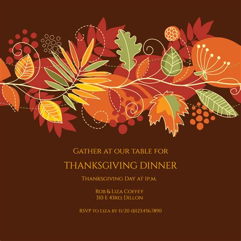 festive fall thanksgiving invitation template