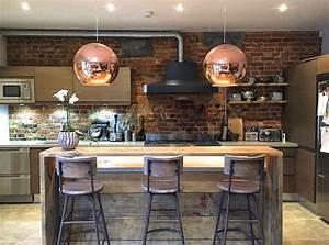 Meuble Cuisine Style Industriel : cuisine industrielle avec murs briques cuisine cuisine industrielle cuisine style ~ Teatrodelosmanantiales.com Idées de Décoration