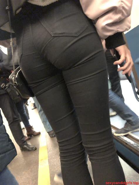 cute ass  tight black jeans subway closeup creepshot