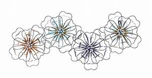 Intermingled flowers floral metal wall art