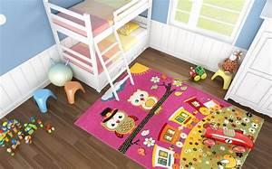 Chambre Enfant Pas Cher : tapis rose creme pour chambre enfant rose hibou pas cher ~ Teatrodelosmanantiales.com Idées de Décoration