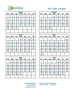 julian calendar quadax fill  printable