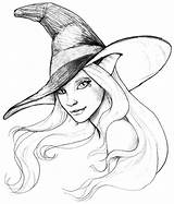 Coloring Halloween Witch Drawings Witches Printable Drawing Tattoo Pencil Kindergarten Sketches sketch template
