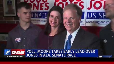 poll moore leading jones  alabama senate race youtube