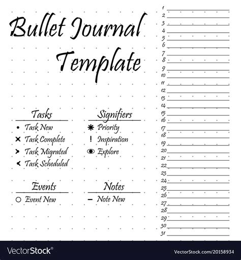 Bullet Journal Template Bullet Journal Template Simple Papers Task Vector Image