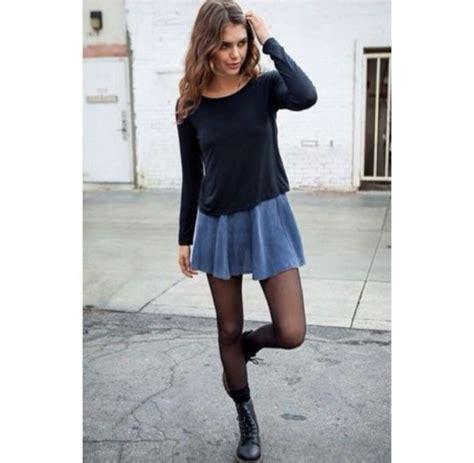 Sweater black long sleeves denim skirt denim skirt ...