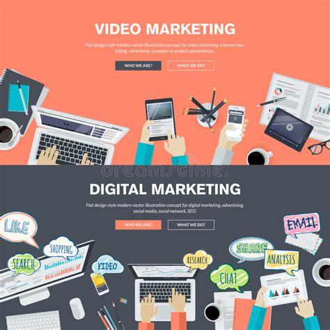 Digital Marketing Materials set of flat design illustration concepts for and