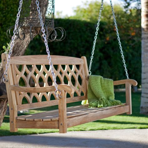 Wooden Porch Swings by Theia Teak Wood Porch Swing At Hayneedle