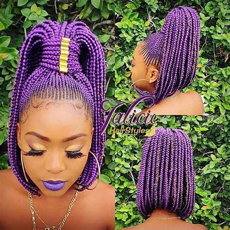 protectivestyles  instagram purple bobbed ponytail atjaliciahairstyles modelatshvggie
