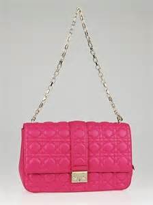 christian dior fuchsia cannage quilted lambskin leather  dior large flap bag yoogis closet