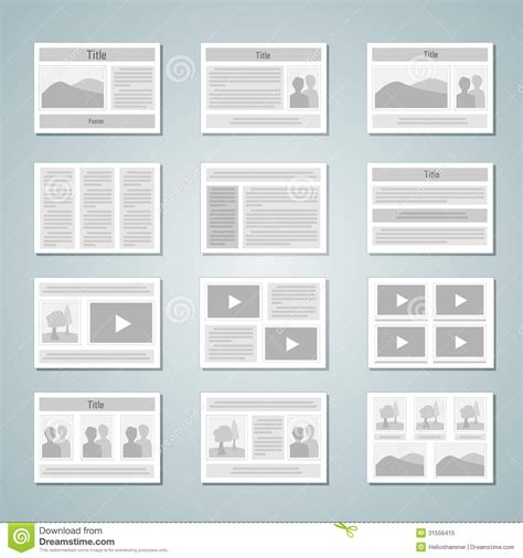 Free Layouts Page Layout Template Set Stock Vector Illustration Of