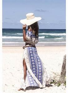Dress sundress blue blue and white hippie boho beach summer hat bohemian bohemian ...