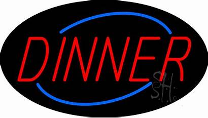 Dinner Sign Neon Signs Animated Restaurant Oval