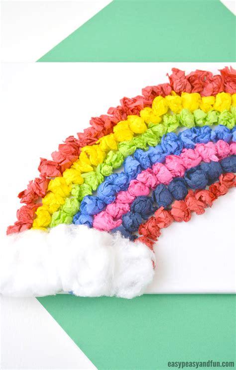tissue paper rainbow canvas art easy peasy  fun