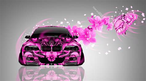 bmw   front fantasy flowers butterfly car  el tony
