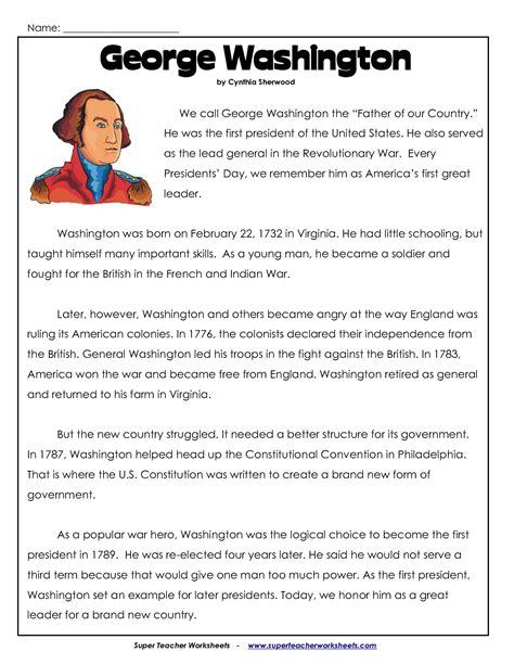 kindergarten worksheets on george washington