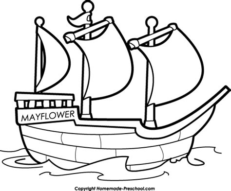 Cartoon Mayflower Boat by Thanksgiving Clipart Boat Pencil And In Color