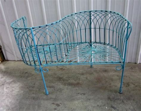 wrought iron courting bench metal seating