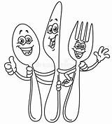 Fork Knife Cartoon Spoon Outline Happy Coltello Illustrazione Forca Cartone Coltellino Cucchiaio Coloring Line Felice Fumetto Outlined Lepel Tekenen Clipart sketch template